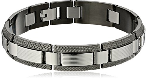 Men's Gunmetal-Plated Stainless Steel Ribbed Texture Link Bracelet