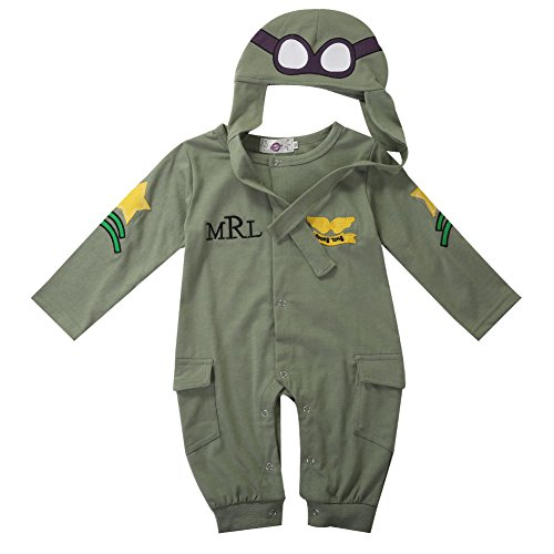 [Unisex Baby Aviator Costume Pilot Cosplay Bodysuit 2pcs (12-18 Month)] (Aviator Costume Toddler)