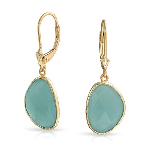 Faceted Stone Bezel Dangle Leverback Aqua Green Simulated Chalcedony Earrings For Women 14K Gold Plated Sterling Silver (Earring Leverback Chalcedony)