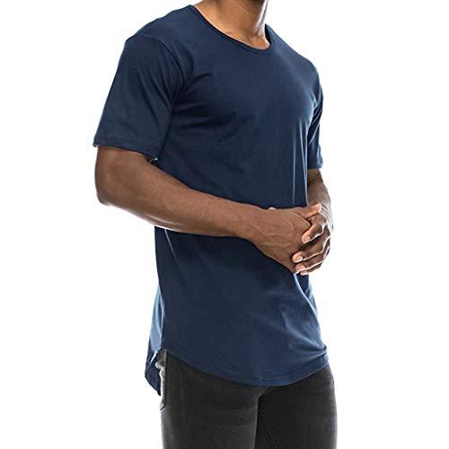 Pandaie Mens Blouse Shirts Summer Men's T-Shirt Basic Crew Neck Hip Hop Solid Slim T-Shirt Top Blouse Navy ()