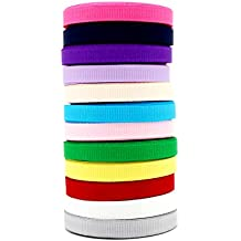 Solid Grosgrain Ribbon Mixed Colors 1/4 Inch (5 Yards/Colors 12 Colors All 60 Yards) - Taoqicrafts