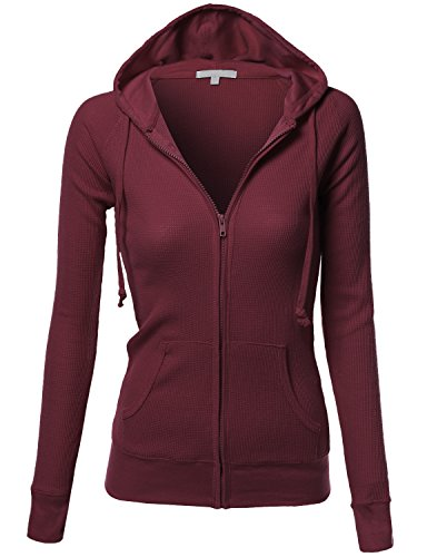 Xpril Basic Slim Fit Lightweight Zipper Drawstring Hooded Jackets Wine Size M (Hoodie Jacket Basic Women)