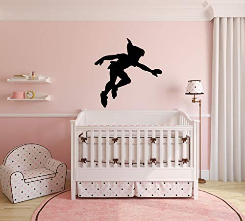 Peter Pan Wall Decal Vinyl Sticker, Shadow Character Art Silhouette for Kids Playroom, Bedroom, Nursery (Peter Pan And The Lost Boys Cartoon)