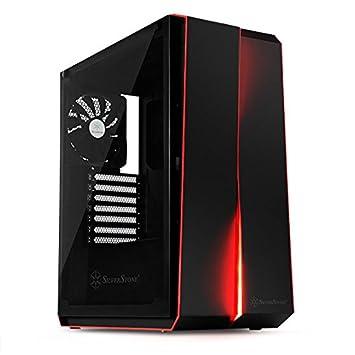 SilverStone SST-RL07B-G - Carcasa de ordenador para juego Red Line Midi Torre ATX, Rendimiento silencioso con alto flujo de aire, color negro