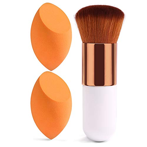 BAIMEI Makeup Sponges with Foundation Brush, Latex-Free, Dry or Wet Dual Use, Flawless Blender Beauty Sponge for Powder, Cream and Liquid Application, 2+1Pcs/Orange+White