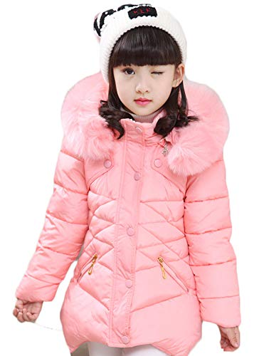 Girl's Down Coat,Girl Winter Jacket Puffer Quilted Coats Outerwear Cotton Lightweight Hooded Winter Coats 10-11Y=Tag Size 150 Pink