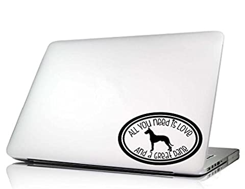 Dog Laptop Decal - All you need is love cute oval dog vinyl sticker art (Great Dane) - Vinyl Quote Design Sticker