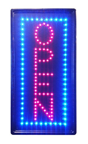 Open Vertical LED Neon Sign 10x20' Now Brighter and Bigger with On/off Animation + On/off Switch +Chain