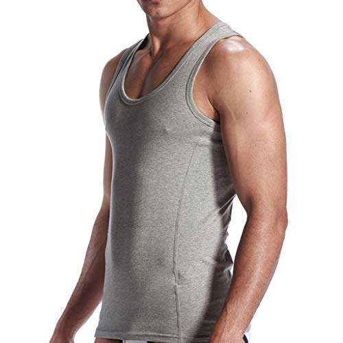 Allywit Muscle Shirts for Men Sleeveless Gym Workout Tank Tops Plus Size Gray by Allywit-Mens (Image #3)