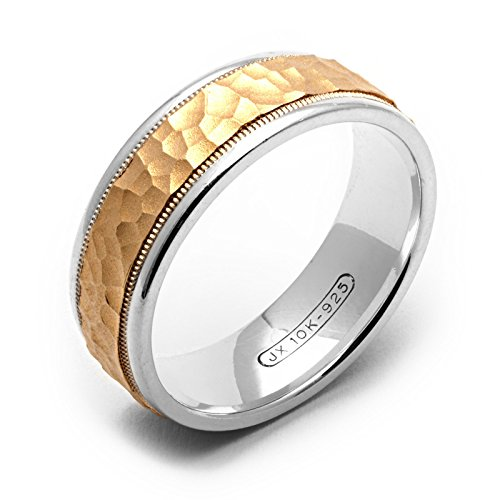 (Alain Raphael 7 Millimeters Wide 2 Tone .925 Sterling Silver and 10K Yellow Gold Hammered Wedding Band)