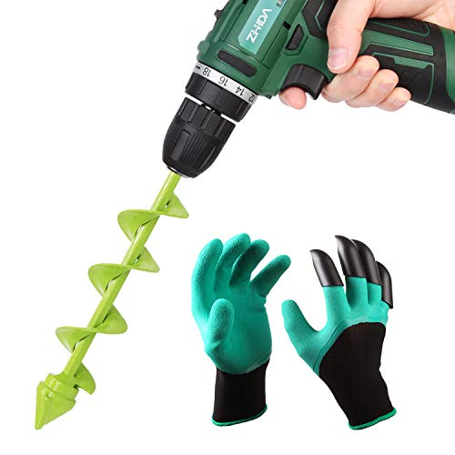 UGarden Bulb & Bedding Plant Auger, with Garden Genie Gloves, Garden Plant Flower Bulb Auger 2″ x 9″ Rapid Planter, Non-Slip Hex Drive fits Any 3/8-inch Drill. (4 Circles)