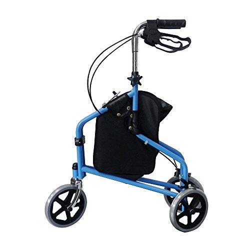 (3 Wheel Rollator Walker with Ergonomic Hand Grips, Locking Brakes, Adjustable Handle Height, Lightweight Aluminum Frame - Blue - by Bodyhealt)