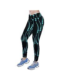 Mapletop Yoga Pants Womens, Fitness Sport Printed Stretch Nine Points Leggings