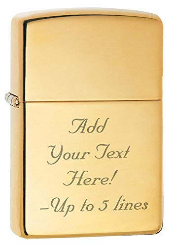 Zippo High Polish Brass Armor Heavy Custom Personalized Message Engraving Windproof Lighter ()
