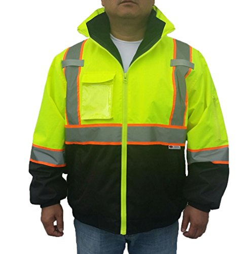 3C SAJ5710, ANSI Class 3, High Vis 3-in-1 Bomber Jacket, Water Resistant, Removable, Reflective, Neon Green w/Blk Bottom 1