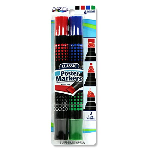 ArtSkills PA-2051 Washable Extra Thick, Double-Sided, Poster Markers, Classic Assorted Colors, 2 Markers, 4 Colors: Blue, Red, Green and Black