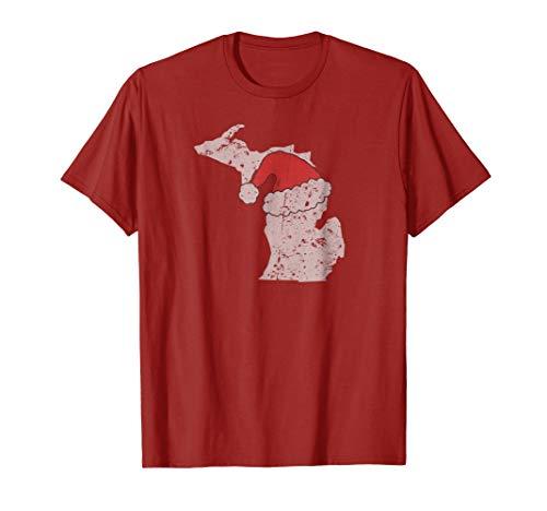 Distressed T-shirt Hat - State of Michigan Christmas T-Shirt w/ Santa Hat Distressed