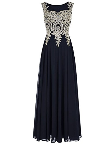 Beaded Evening Navy Sheer Cdress Dresses Applique Prom Long Party Chiffon Formal Gowns S8xZUqd