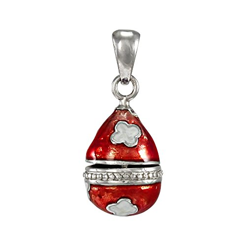 TheCharmWorks Sterling Silver Red Faberge Style Egg Charm