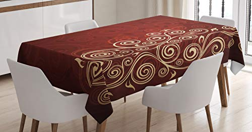 Ambesonne Burgundy Tablecloth, Floral Swirls Ivy Image with Ombre Details Grunge Backdrop Flower Artwork, Dining Room Kitchen Rectangular Table Cover, 52 W X 70 L Inches, Cream Ruby