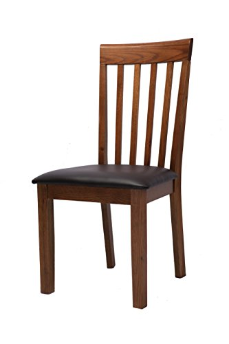Oak Side Chair (MYMQ Dining Side Chair, Set of 2, Comb Back with Upholstered Seat, Crafted from Solid Oak Wood, Clear Oak Wood Grain with Old Effect)