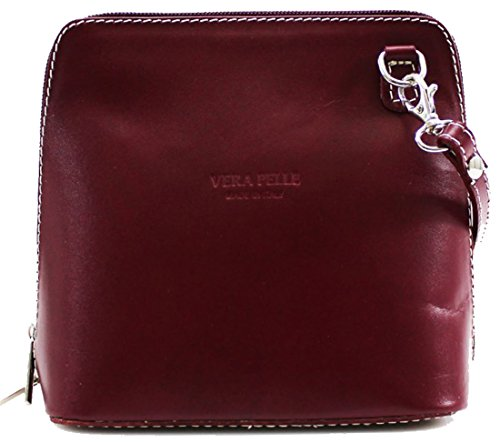 Handbags Messenger Leather Pelle Burgundy Italian Women Ladies Genuine Bags Bag Vera Over Shoulder Cross Body Small w67wYgxq