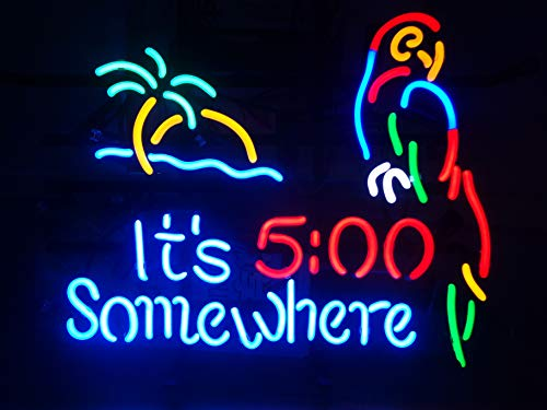 (LinC Neon Sign-Three Home Decor Light for Bedroom Garage Beer Bar and Nightclub, Real Glass Neon Light Sign for Wall Decor Art (It's 5:00 Somewhere with)