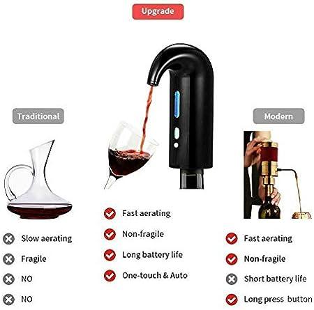 Negro Dispensador de Aireador y Vino tinto Dispensador Automático de Oxidante de Vino Eléctrico Multi Inteligente Pourer Recargable