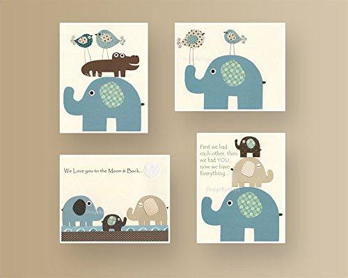 Amazon.com: Baby Boy room decor Blue Teal Beige Brown Cream ...
