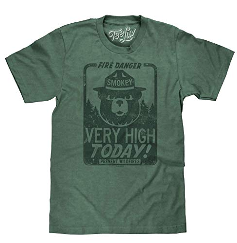 Tee Luv Smokey Bear Shirt - Fire Danger Very High Today Tri Blend T-Shirt (Large)
