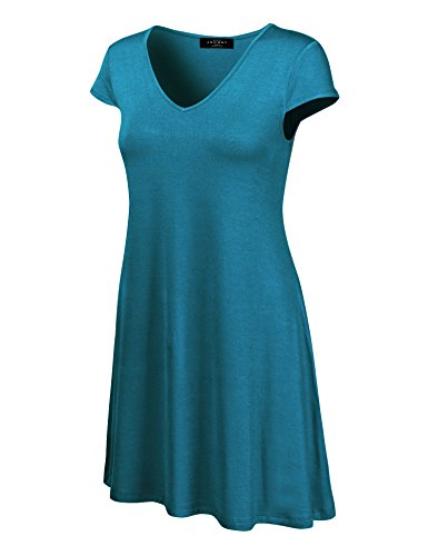 (Made By Johnny WDR1068 Womens V Neck Cap Sleeve T Shirt Dress XL Teal)