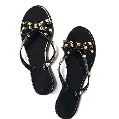 (Yehopere Womens Bow Flip Flops Sandals Studded Jelly Shoes Summer Beach Thong Slippers Black,)