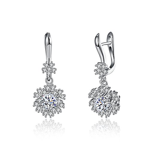 iCAREu 925 Sterling Silver Snowflake Post Earrings for Women, Girls with Shining Zircon (Coral Bells Snow Angel)
