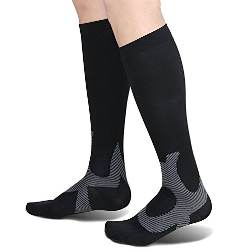Compression Socks For Women and Men - 20-25mmHg - BEST Stockings for Running, Athletic, Edema, Diabetic, Varicose Veins, Travel, Pregnancy & Maternit ... (Black, 1 Pairs, Small/Medium)