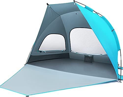 MOVTOTOP Beach Tent Sun Shade Shelter, 3-4 Person Large Sunshade Canopy UPF 50 Sport Umbrella Instant Tent for Camping, Outdoor, Beach Accessories