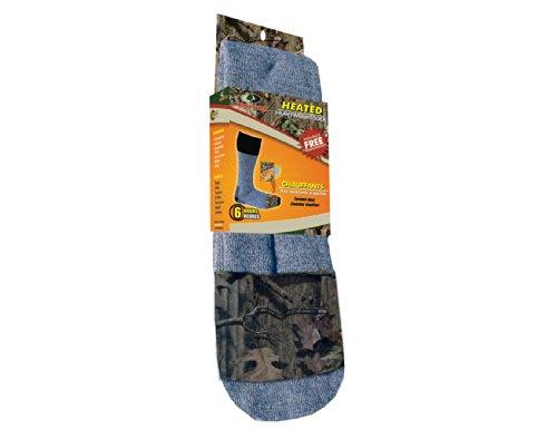 Heat Factory Merino Wool Blend Socks with Foot Heat Warmer Pockets, Mossy Oak/Grey, Large/X-Large