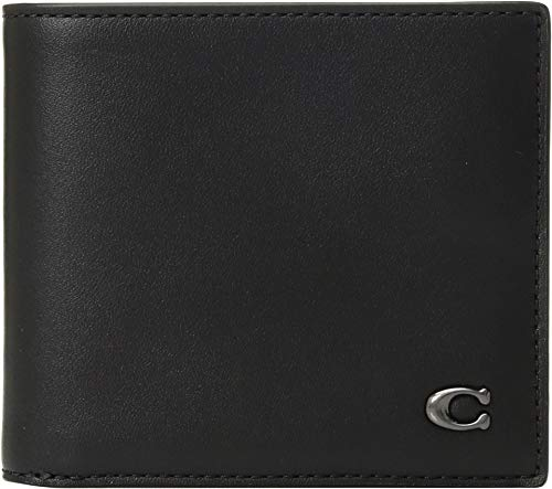 COACH Men's Double Billfold in Signature Hardware Black One Size