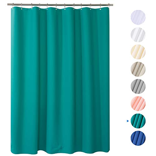 "AmazerBath Plastic Shower Curtain, 72"" x 72"" Turquoise EVA 8G Thick Bathroom Shower Curtains Eco-Friendly with Heavy Duty Clear Stones and Rust-Resistant Grommet Holes"