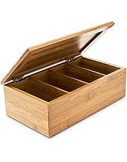 Relaxdays Teebox 10018875 Bamboe theekistje, 9 x 28,5 x 16 cm, klapdeksel, 4 vakken, voor ca. 80 theezakjes, geen verlies van aroma, naturel