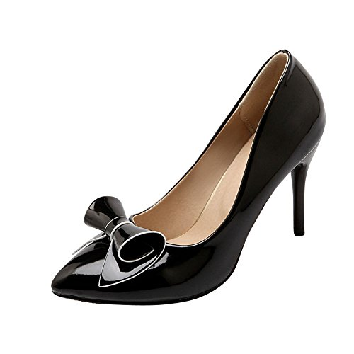 Show Shine Womens Sexy High-heel Stiletto High-heel Patent Leather Bows Upper Court Shoes Black DdpDxx