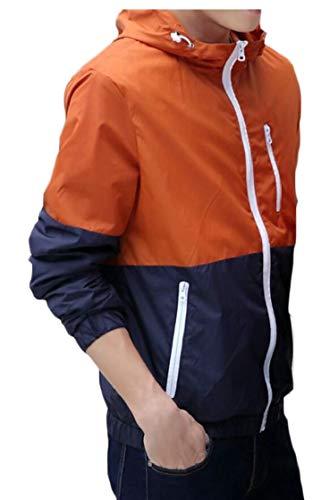 TTYLLMAO Hoodie Half Hood Orange Pullover Windbreaker Zipper Block Color Jacket Men's OrwqORB