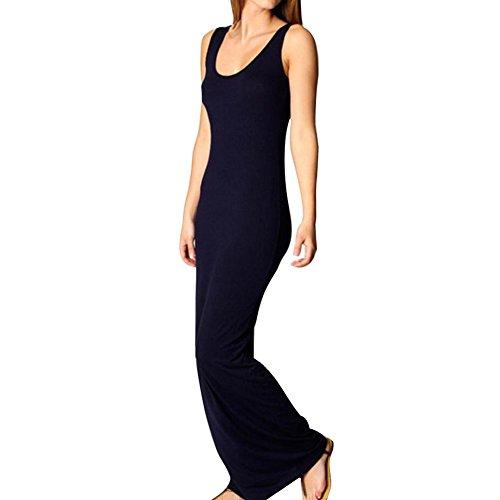 Highdas Frauen-Sleeveless Sommer-Kleid-Normallack-Maxi Kleid-langes Beachwear-Feiertags-elegantes Cocktail-Strand-Kleid Marine jVmV02grp