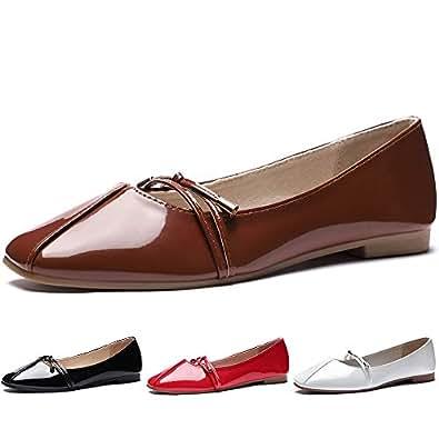 CINAK Comfort Women Flats- Cute Knot Slip On Dress Walking Shoes Square-Toe Casual Ballet Brown Size: 5-5.5