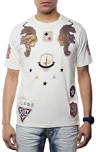 Sean John Mens Alpha Metallic-Print Patch T-Shirt. Alpha