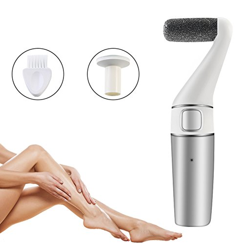 Eurobuy Electric Foot File,3 in 1 Rechargeable & Waterproof Callus Remover Pedicure Tools Ideal for Dead,Hard and Cracked Skin with Extra Roller Head and Cleaning Brush