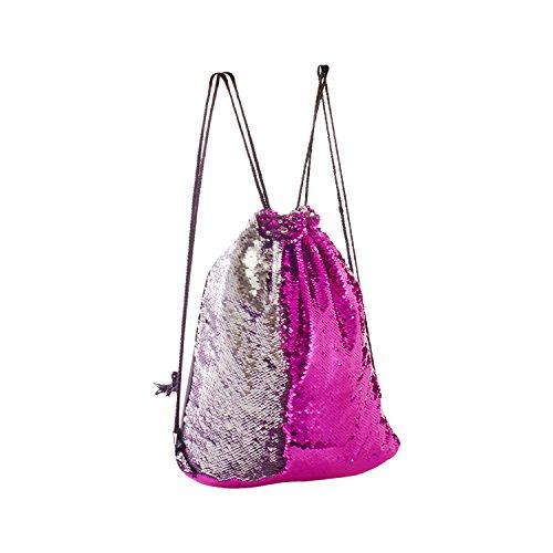 Eyourlife Mermaid Bag Sequin Drawstring Backpack Dancing Bag Fashion Dance Bag Sequin Backpack Flip Sequin Bling Hiking Bags(Rose Red/Silver)