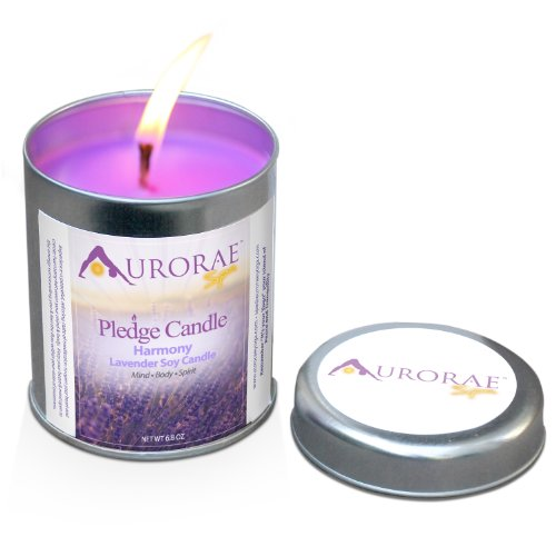 Aurorae 6.8 Ounce Lavender Scented Soy Aromatherapy - Candle Tin Essential