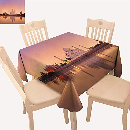 UHOO2018 Spillproof Fabric Tablecloth taj Mahal in Agra India on Sunset Square/Rectangle Washable Polyester,23 x 32inch