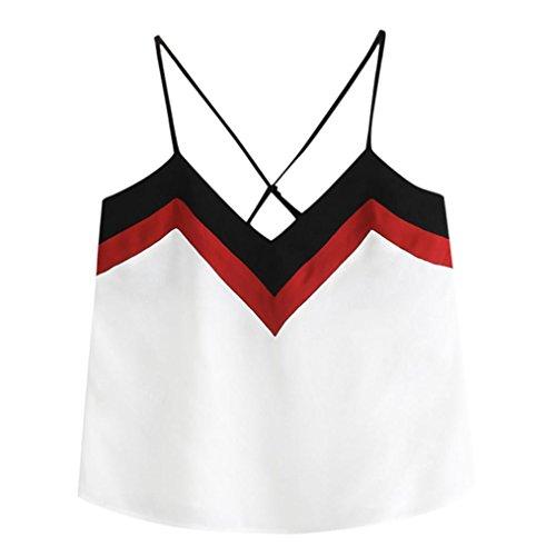 Shirt MORCHAN Crop Femmes Top Casual Manches Sans Tank Gilet Blouse Blanc Top Patchwork qrFznHOwq