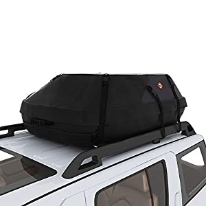 COOCHEER 20 Cubic Feet Waterproof Car Top Carrier- Roof Cargo Bag Box Easy to Install Soft Rooftop Luggage Carriers with Wide Straps, Best for Traveling, Cars, Vans, SUVs (20 Cubic Feet, Black)